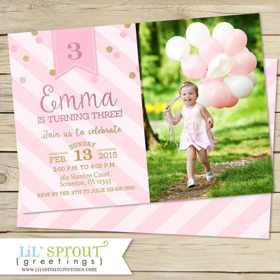 Pink and gold glitter girls birthday invitation printable etsy zoom m4hsunfo