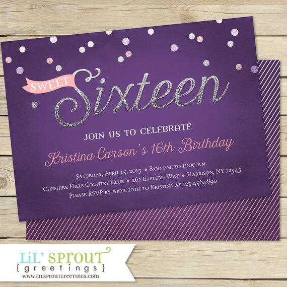 sweet 16 birthday invitation sweet sixteen birthday invitation