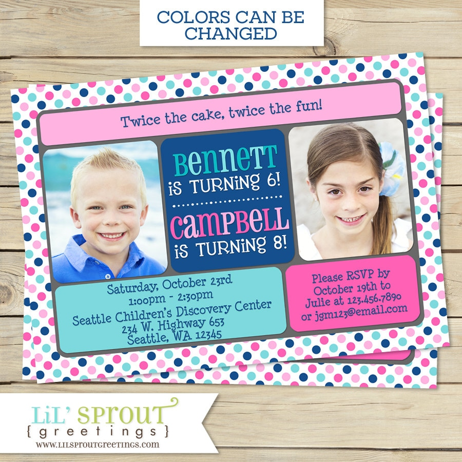 Sibling Birthday Party Invitation Boy Or Girl Double