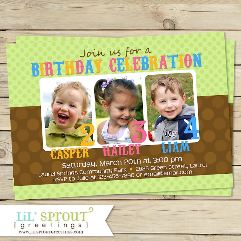 Triplet Joint Birthday Invitation Sibling Invite