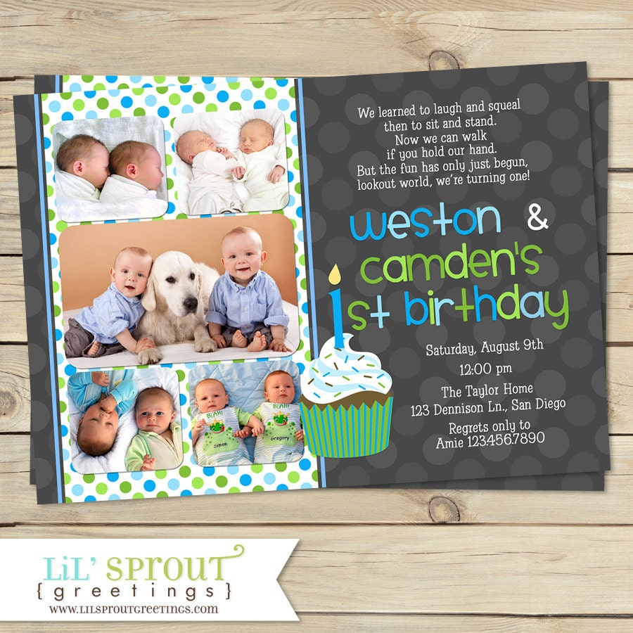 Twin First Birthday Invitation Boy 1st Invite