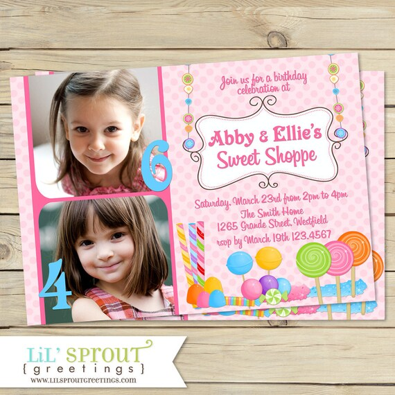 Candy Sweet Shop Joint Birthday Invitation