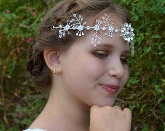 Beautiful Swarovski Crystal Beaded Snowflake Bridal Tiara Wedding Hair Vine