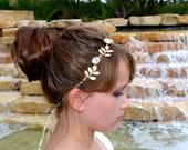 Beautiful Vintage Style Crystal and Gold Leaf Vine Bridal Tiara Wedding Headband