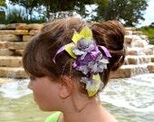 Golden Purple and Green Japanese Kanzashi Flower Hair Comb
