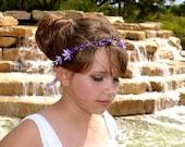 Lavender Dream Silk Flower and Topaz Swarovski Crystal Rustic Circlet, Woodland Halo, Woodland Tiara