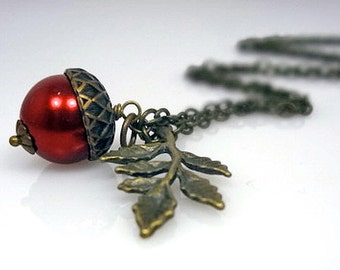 Fall Acorn Necklace Red Pearl Acorn Brass Leaf - Autumn Jewelry