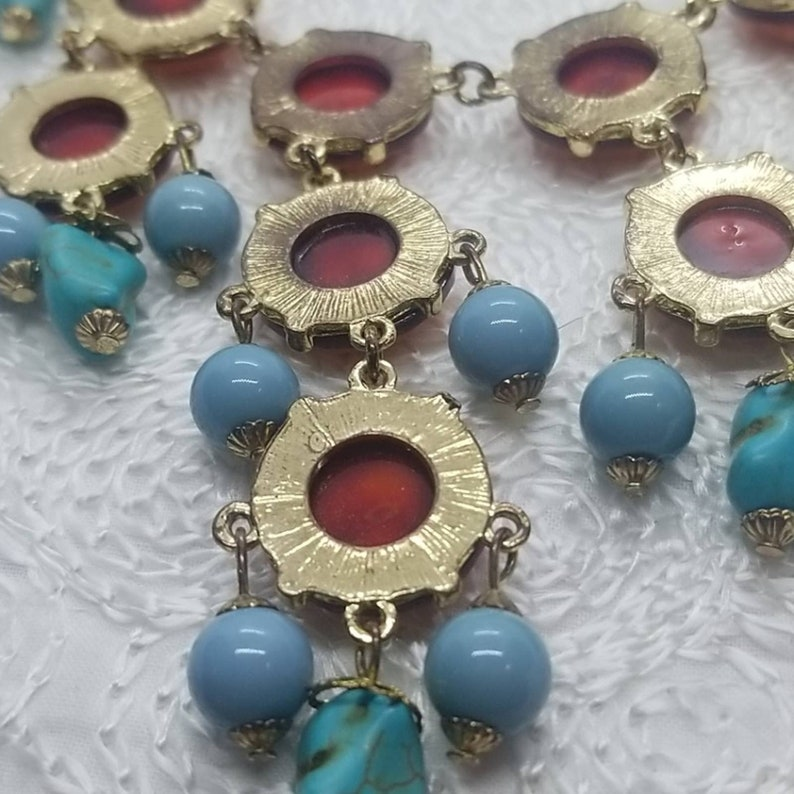 Orange Blue Turquoise Drop Statement Gold Necklace