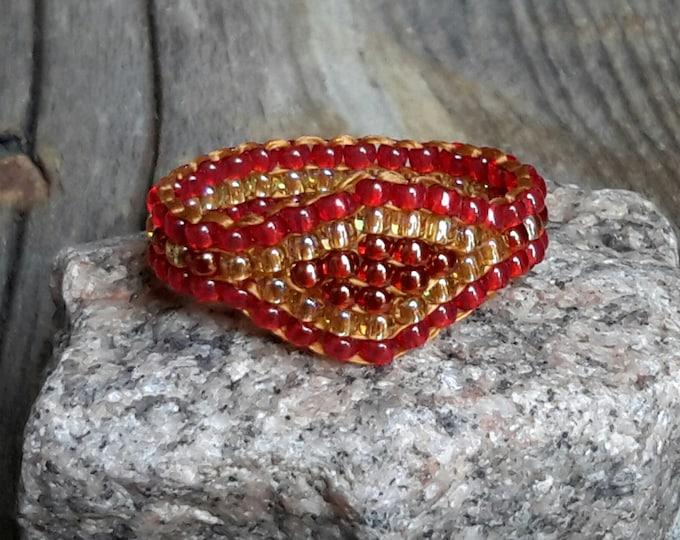 Autumn Red Crystal Honey Gold Ginger Fall Autumn Boho Bead Ring Hypoallergenic Custom