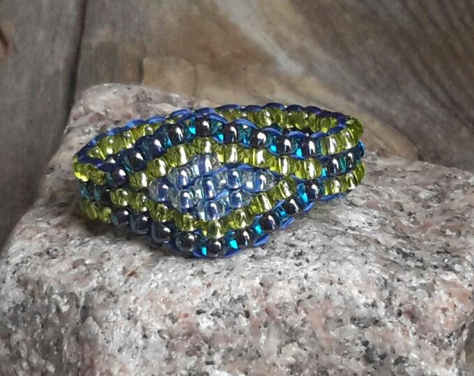 Handmade Cobalt Blue Chartreuse Hippie Minimalist Tribal Boho Bead Band Ring Pinky Nickel Free