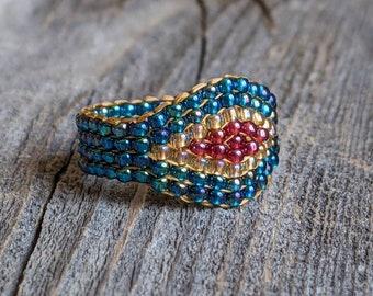 Rainbow Teal Crystal Honey Gold Royal Plum Southwestern Hippie Boho Native Bead Ring Chunky Jewelry Hypoallergenic