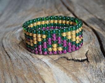 Emerald Green Frosted Autumn Orange Wild Plum Purple Bead Band Ring Aztec Stripes Southwestern Hippie Boho Custom Colors Hypoallergenic