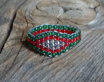 Emerald Green Red Silver Christmas Holiday Spirit Small Pinky Glass Sead Bead Ring Nickel Free Custom