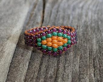Plum Purple Tangerine Orange Jade Green Southwestern Hippie Bead Ring Hypoallergenic Custom Orders