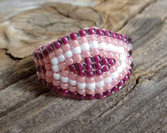 Women's Plum Purple Peach White Large Chunky Thumb Midi Band Ring Hypoallergenic Handsewn Beaded Ring Custom Sizes and Colors