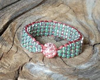 Sparkling Crackle Quartz Stone Rust Red Orange with Sea Mist Green Band Hypoallergenic Hippie Women's Teen Girls