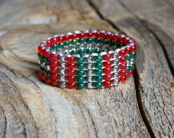 Holiday Sparkle Christmas Spirit Striped Hypoallergenic Small Silver Red Emerald Green Minimalist Tribal Bead Band Ring Chunky Pinky