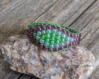 Hand Stitched Wild Plum Purple Frosted Spring Green Grey Seed Bead Ring Nickel Free Retro Hippie