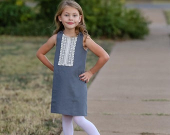 Girls A Line Dress Pattern - Reversible - Easy to Sew - 2 3 4 5 6 years dress pattern download