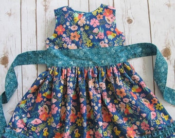 Classic Girls Dress Sewing Pattern, Sleeveless Dress with Sash for Girls 2 to 10 years, Downloadable PDF Pattern
