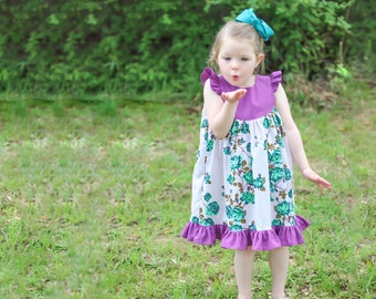 The Butterfly Dress - Flutter Sleeve Dress Sewing Pattern PDF Download - Girls 1 to 10