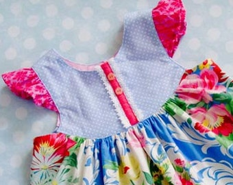 The Butterfly Dress - Flutter Sleeve Dress Sewing Pattern PDF - Girls 2 to 8