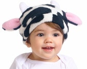 In the MOOOD Boutique Fleece Black and White Cow Ear Horn Hat Custom Size Infant Toddler Child