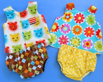 Digital Baby Sewing Pattern SALE Bundle of 3 - Reversible Tops in 2 Styles + Diaper Cover Pattern Baby Boy and Girl - Easy to Sew - Beginner