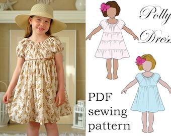 Easy Girls Twirl Dress Pattern - Full Twirly Tiers - Puff Sleeves - 2 Styles - Downloadable PDF Pattern size 1 to 10