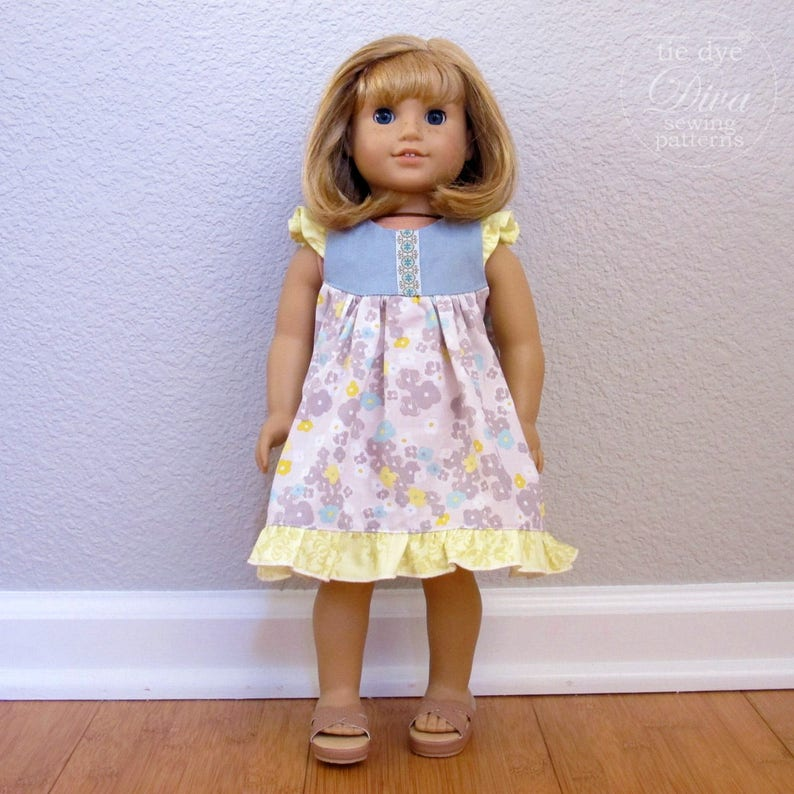 Awesome Doll Dress Pattern Fits American Girl Flutter Sleeve Dress Or Top Pdf Sewing Pattern For 18 Inch Doll Download Free Architecture Designs Scobabritishbridgeorg