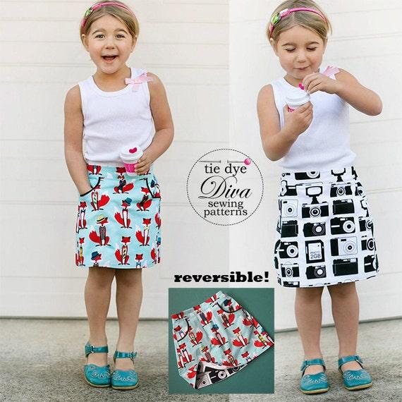 Girls Skirt Pattern PDF Reversible A Line Skirt Sewing | Etsy