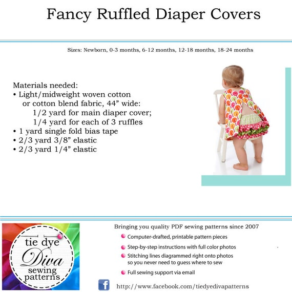 Ruffled Diaper Cover Pattern Pdf Sewing Pattern Baby Diaper Cover Pattern