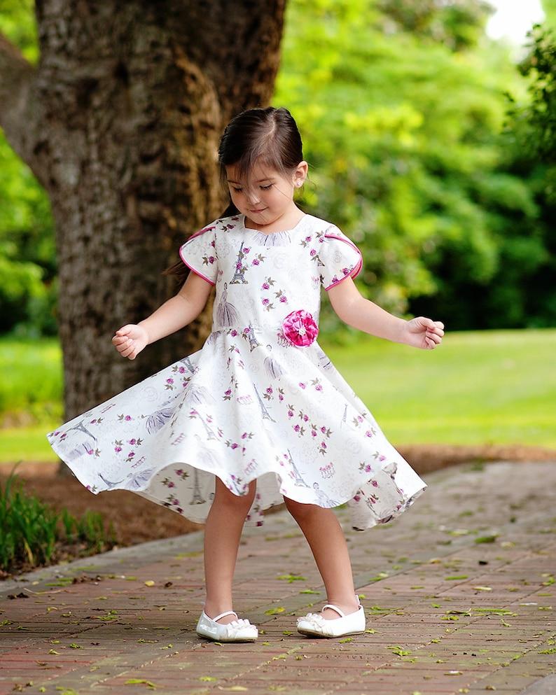 Twirly Dress Pattern for Girls PDF Download  sizes 2 through image 0
