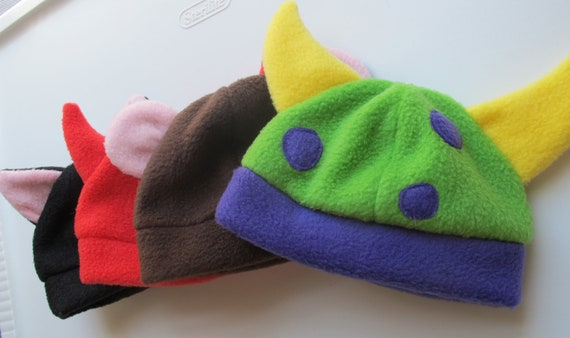 Kids Hat Pattern with Horns or Ears  Instant Download