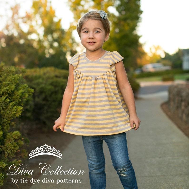 018590d60789 Girls Knit flutter Top and Dress Pattern Knit Tunic or Dress