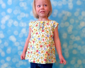 Top PDF Pattern - A Line Top PDF Sewing Pattern for Baby and Girls - 12 months to 10 years