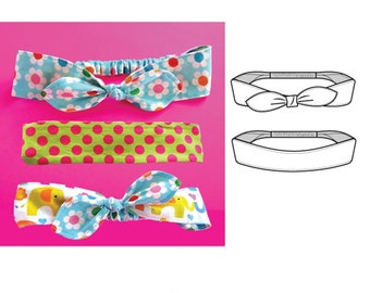 Girls Womens Headband Sewing Pattern with Bow - baby to adult - Fabric Head band Pattern - PDF Download Hairband Pattern