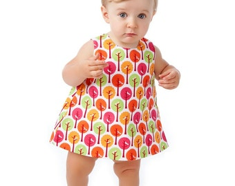Baby Pinafore Dress Pattern with Open Back, Easy Sewing Pattern PDF, Reversible