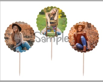 Custom Graduation Cupcake Toppers | ANY CUSTOM PICTURES | 12 Food Toppers Picks | Senior Graduation Party
