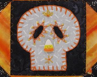 Sugar Skull Quilt, Candy Corn