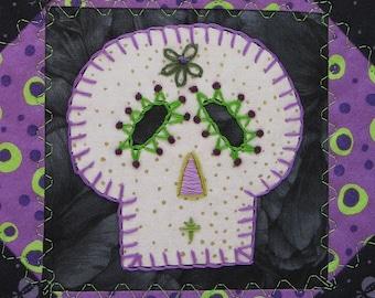 Sugar Skull Quilt, Purple and Green