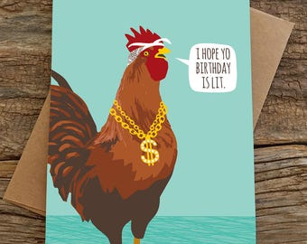 funny birthday card / lit birthday rooster