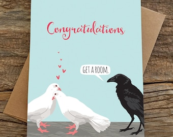 funny wedding card / funny engagement card / doves