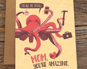 lustige Geburtstagskarte für Mama / Muttertag / Oktopus
