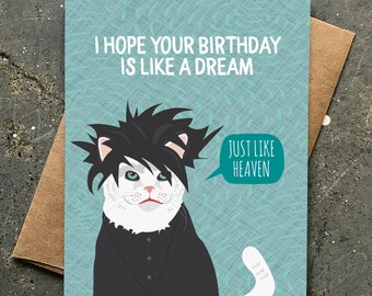 funny birthday card   the cure cat