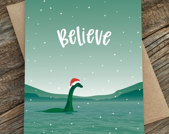 funny holiday card set / believe / nessie / boxed set of 8