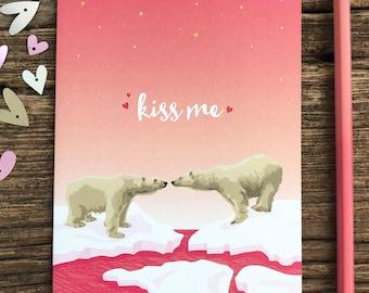 anniversary card / kiss me / polar bears