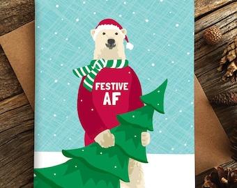 funny holiday cards / festive AF / polar bear / boxed set of 8