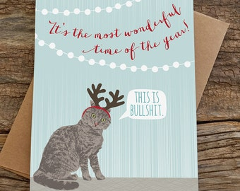 funny holiday cards / funny cat card / cat antlers / boxed set of 8