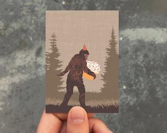 mini birthday card / gift enclosure card / sasquatch cupcake